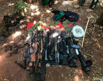 Se secuestraron varias armas largas en el campamento del EPP.