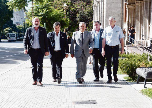 Los miembros de la Mesa de Enlace: CRA, Sociedad Rural, Federación Agraria y Coninagro. Télam