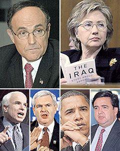 El ex alcalde de N.Y. Rudolph Giulianies el favorito entre los precandidatos presidencialesrepublicanos (arriba-izquierda). Enfrentaráal senador John McCain (abajo-izquierda)y al conservador duro Newt Gingrich (abajocentro). Hillary Clinton es la precandidatademócrata con más adhesiones (arriba derecha). Suprincipal rival será el ascendente senadornegro Barack Obama (abajo centro). Elhispano Bill Richardson podría terminarsiendo su compañero de fórmula (abajo derecha).