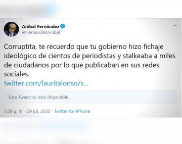 Aníbal Fernández le volvió a responder a la extitular de la Oficina Anticorrupción del macrismo