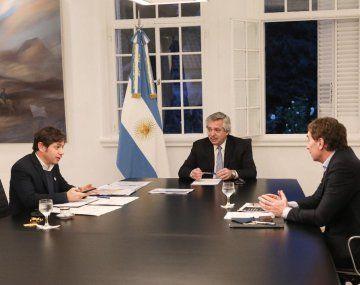 Alferto Fernández, Junto a Axel Kicillof y Diego Santilli.