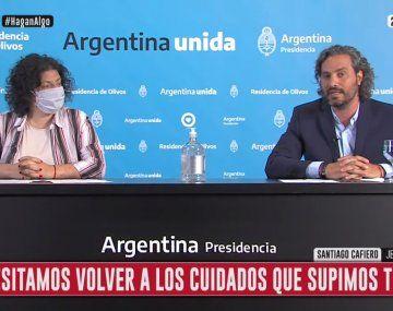 Anuncio del jefe de Gabinete, Santiago Cafiero, y la ministra de Salud, Carla Vizzotti, por medidas para enfrentar la pandemia COVID-19.