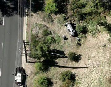 La imagen aérea que difundieron varios medios sobre el accidente de Tiger Woods.