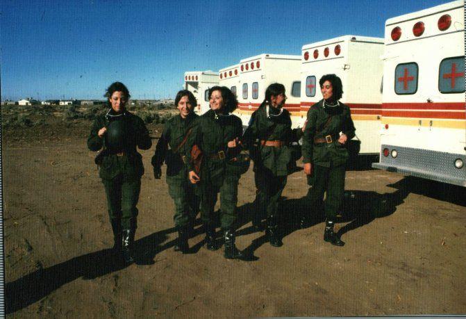 En servicio: Stella Morales, Gisela Basler, Ana Masitto, Alicia Reynoso y Gladis Maluendes.